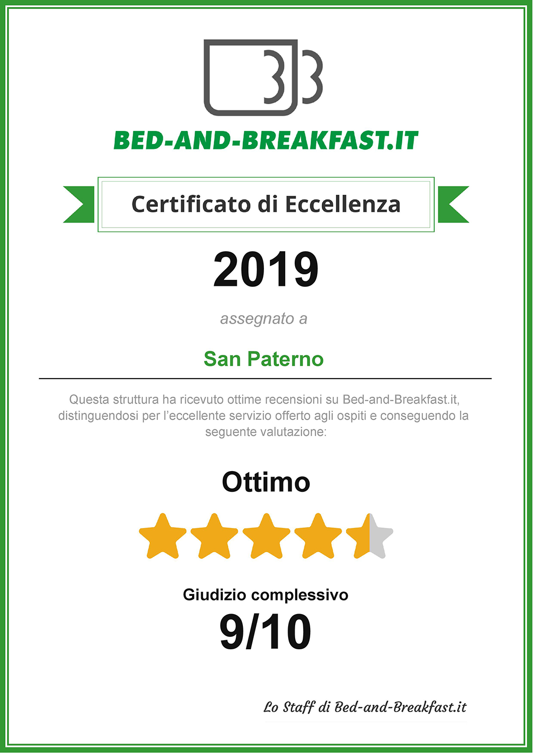 certificato eccellenza bed and breakfast